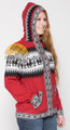 Alpaca Motif Hoodie Zip-Up Cardigan - Alpaca Sweater - Dark Red - 16261710