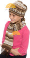 All in One Alpaca Hat Scarf with Alpaca Motif - Natural Alpaca Colors - 16752219