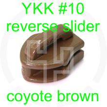 #10 YKK coyote brown reverse zipper slider (20 pack)
