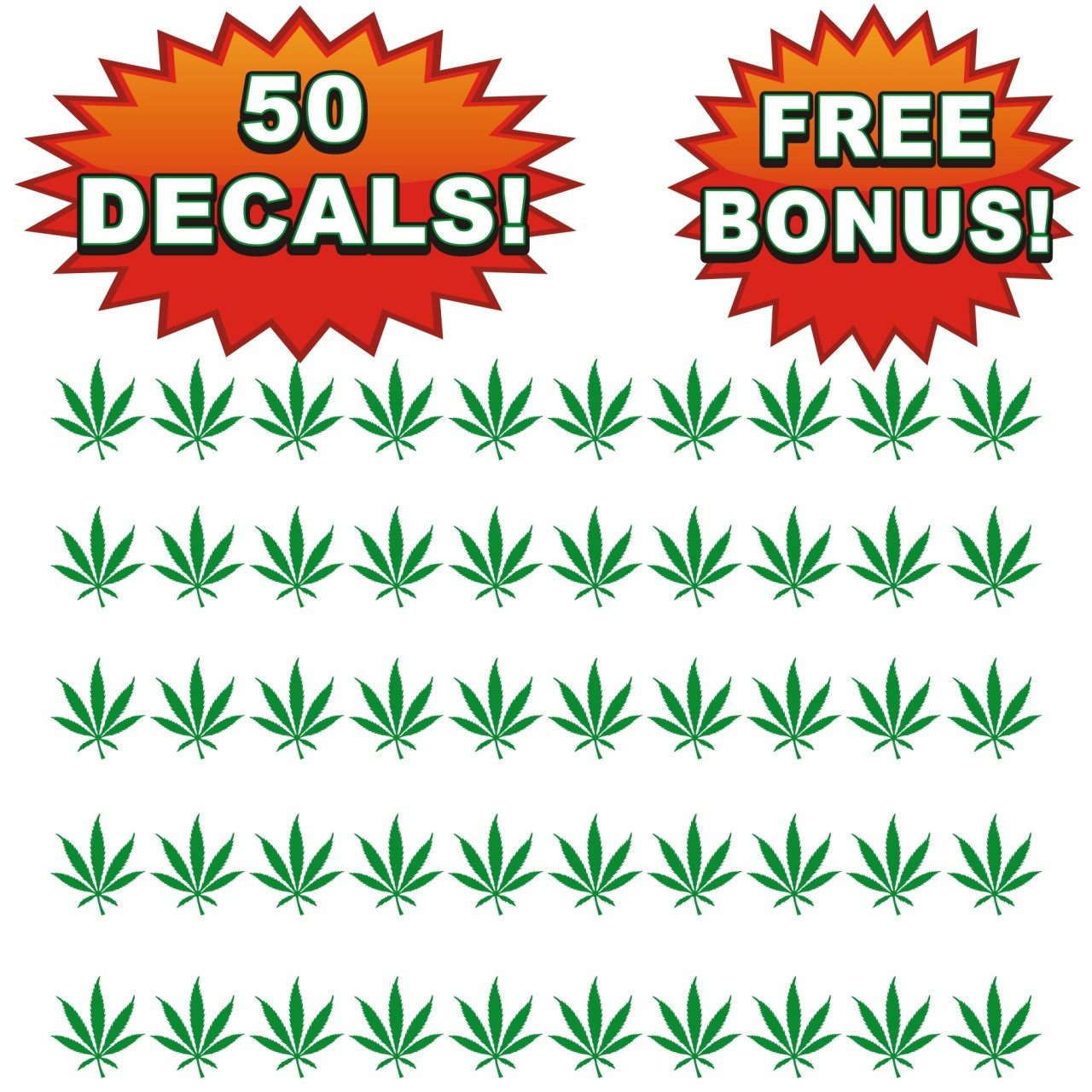 Bulk wholesale lot of 50 pot leaf decals stickers 420 weed chronic