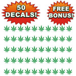 Bulk Wholesale Lot of 50 pot Leaf Decals, Stickers, 420, Weed, Chronic