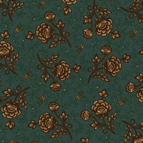 Helping Hands Wild Rose On Teal Helping Hands Quilt Shop