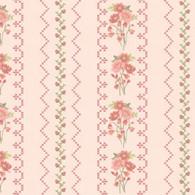 Gentle Garden Flannel - Floral Stripe Pink