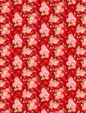 Amorette - Large Floral on Red