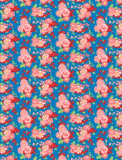 Amorette - Large Floral on Blue