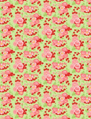 Amorette - Large Pink Floral on Green