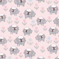 Playful Cuties Flannel - Sheep Pink