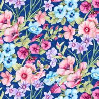Papillon Parade - Dark Blue Large Floral