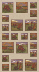 Fall Squares Panel 24x44 Fabric Country Charm