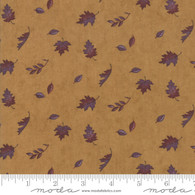 Country Charm - Purple and Brown Falling Leaves on Gold