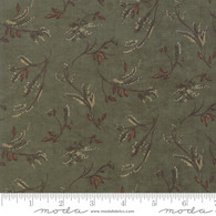 Small Leave and Vine Sprigs on Green Country Charm Fabric