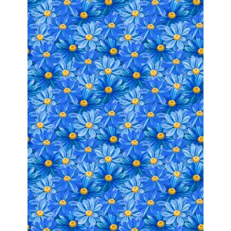 Wilmington Prints Madison Packed Blue Daisies Fabric