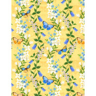 Wilmington Prints Madison Floral and Butterflies on Yellow Fabric