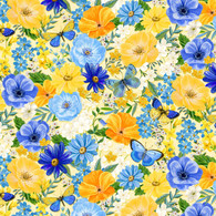Wilmington Prints Madison Packed Large Flowers on Cream Fabric