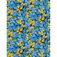 Wilmington Prints Madison Small Blue and Yellow Flowers on Navy fabric