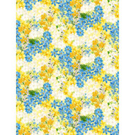 Wilmington Prints Madison Yellow/Blue Flowers on Yellow fabric