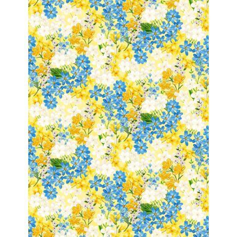 Wilmington Prints Madison Yellow/Blue Flowers on Yellow fabric