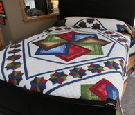 "Star Spin Quilt - 107"" by 115"""