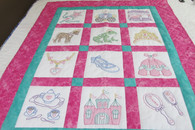 Embroidered Princess Crib Quilt - 42 by 54