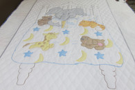 Embroidered Bedtime Stories Crib Quilt - 38 by 57