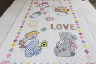 Embroidered Baby Love Crib Quilt - 37 by 57
