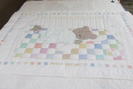 Embroidered Sleeping Bear Crib Quilt - 58 by 38