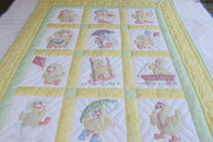 Embroidered Ducks Crib Quilt - 40 by 50