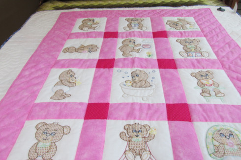 Embroidered Teddy Bear Crib Quilt - 41 by 53