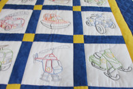 Embroidered Rescue Vehicles Crib Quilt - 42 by 53