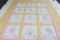 Embroidered Angels Crib Quilt - 41 by 53