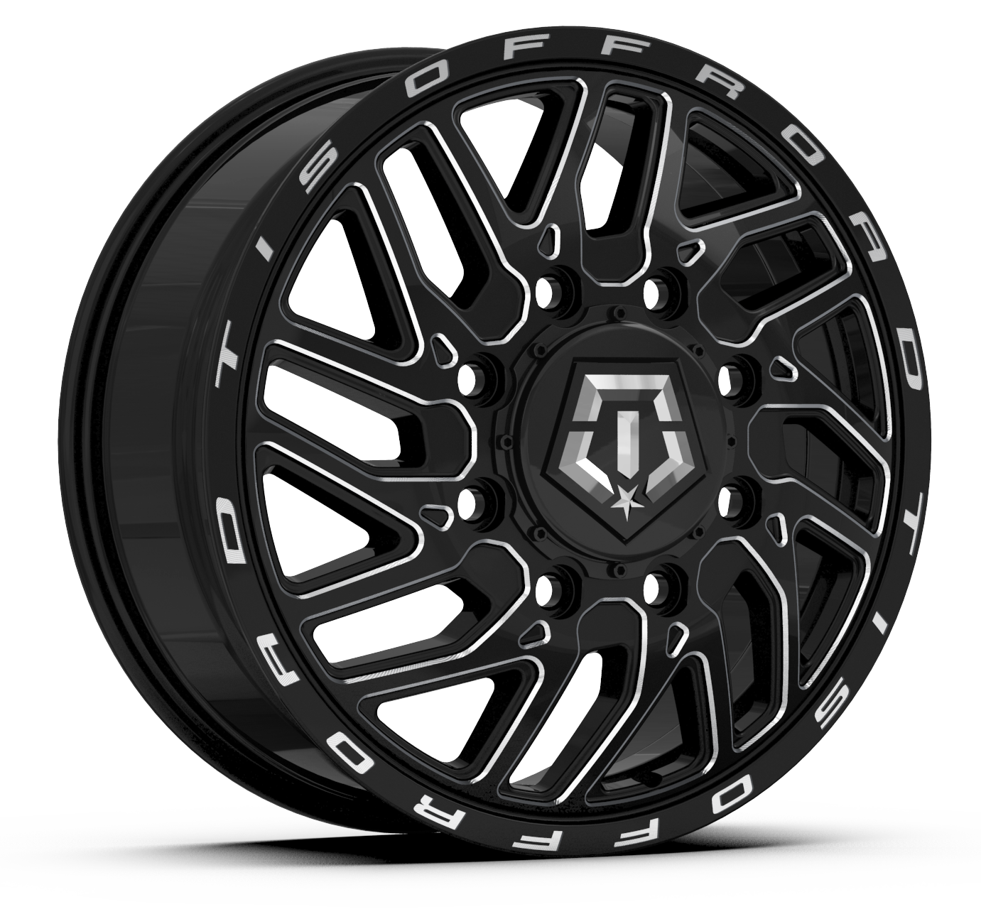TIS 544BM Dually Wheels Gloss Black with CNC Milled Accents 5 and 6 lug