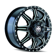 Mayhem Monstir Dually Front Wheels Rims 19.5x6.75 Black Milled 8x6.5 (8x165.1) 102mm | 8101-9681MF121 | Free Shipping!