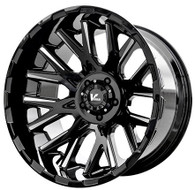 V Rock Recoil VR10 Wheel 17x9.5 6x5.5 (6x139.7) Black Milled -5mm -FREE LUGS