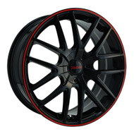 Touren TR60 Wheels 18x8 5x110 & 5x115 Black Red 40mm | 3260-8811BR