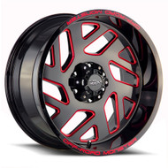 Off-Road Monster® M19 Wheels Rims 20x10 6x5.5 (6x139.7) Black Milled Red -19  | M190639N19GBMLR