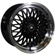 MST Wheels® MT16 Wheels Rims 15x8 4x100 Black w/ Machined 20 | 16-5849-20-BLKL
