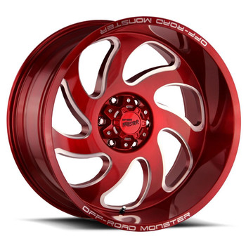 Off-Road Monster® M07 Wheels Rims 22x12 8x6.5 (8x165.1) Candy Apple Red -44  | M07212865N44R