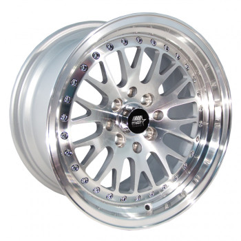 MST Wheels® MT10 Wheels Rims 16x8 4x100 4x4.5 (4x114.3) Silver w/ Machined 20 | 10-6816-20-SILF