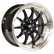 MST Wheels® MT11 Wheels Rims 16x8 4x100 4x4.5 (4x114.3) Black w/ Machine 15 | 11-6816-15-BLKL