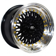 MST Wheels® MT13 Wheels Rims 15x8 4x100 4x4.5 (4x114.3) Black w/ Machined Gold Rivets 20 | 13-5816-20-BKGL