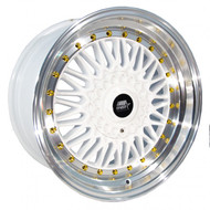 MST Wheels® MT13 Wheels Rims 15x8 4x100 4x4.5 (4x114.3) White w/ Machined Gold Rivets 20 | 13-5816-20-WTGL