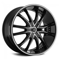 VCT® V69 Wheels Rims 18x8 5x108 5x4.5 (5x114.3) Black Machined 40 | V69-1881051081143+40BM