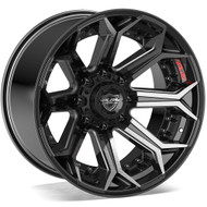 4Play® 4P80 Wheels Rims 22x12 8x6.5 (8x165.1) Brushed Black -44  | 4P80R-22120-8650-44BBT