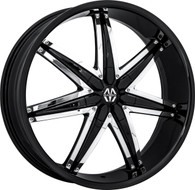 Massiv® Spline 923 Wheels Rims 22x9.5 5x115 5x120 Black w/ Chrome Insert 15 | MAS923-22914BC