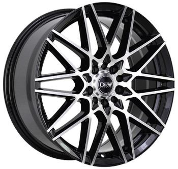 DRW® D17 Wheels Rims 18x8 4x100 4x4.5 (4x114.3) Black Machined 40 | D17-18808H4073BMF