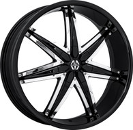 Massiv Spline 923 Wheel 26x9.5 5x115 5x127 (5x5) Black With Chrome Insert 13MM - MINIMUM PURCHASE OF 4 WHEELS