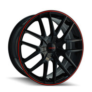 Touren TR60 Wheels 18x8 5x4.5 & 5x120 Black Red 20mm | 3260-8804BR