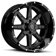 Tuff T15 Wheel 15x8 6x5.5 (6x139.7) Satin Black w/ Milled Dimples -24 mm Offset - IN CART DISCOUNT!