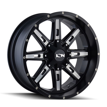 Ion 184 Wheels Rims 17x9 Black Milled 8x6.5 (8x165.1) 8x170 -12mm | 184-7976M | Free Shipping!