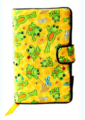 The frogs in our Happy Frogs cloth book cover are, in our humble opinion, far too happy.